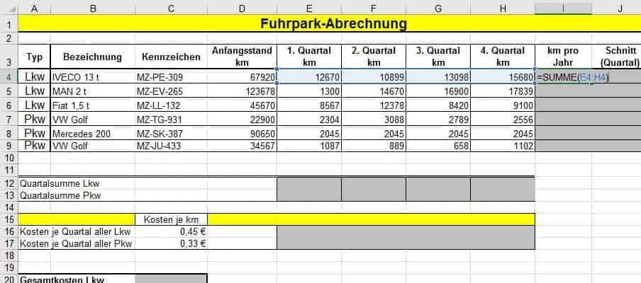 Excel Spalten Multiplizieren